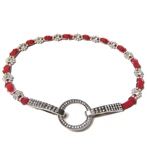 wholesale Crystal Stretch Belts J4144 - Red Crystal Stretch Belt -