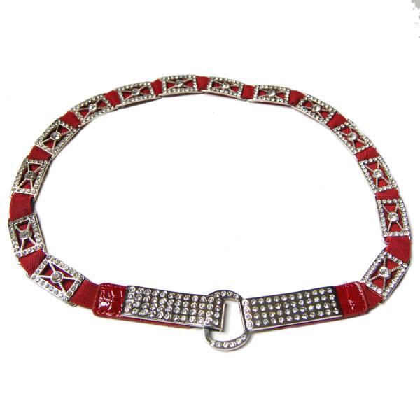 wholesale Crystal Stretch Belts J4146 - Red (MB) Crystal Stretch Belt -