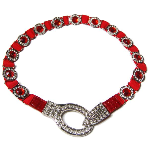 wholesale Crystal Stretch Belts L6061 - Red Crystal Stretch Belt -