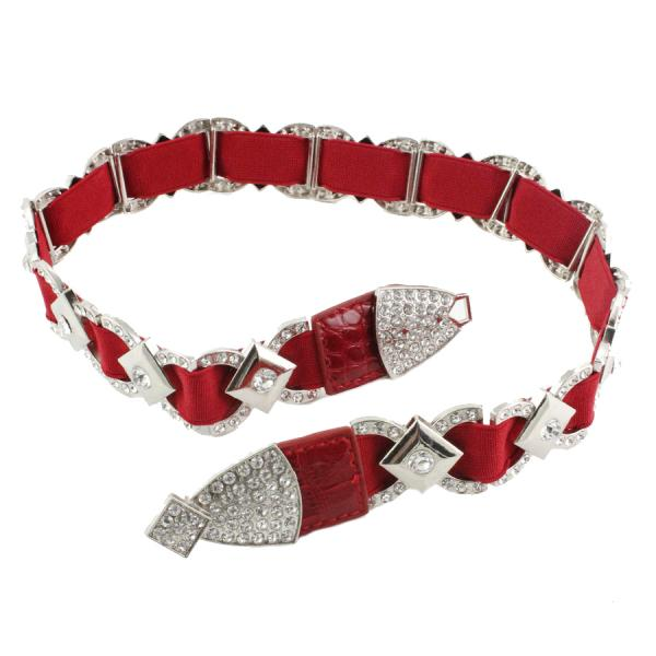 wholesale Crystal Stretch Belts X9103 - Red Crystal Stretch Belt -