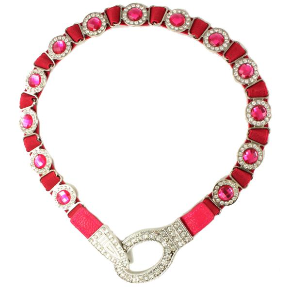 wholesale Crystal Stretch Belts L6061 - Hot Pink Crystal Stretch Belt -