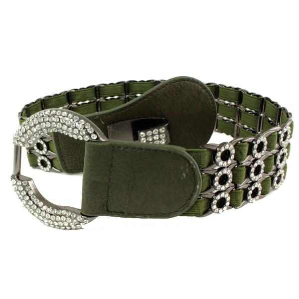 wholesale Crystal Stretch Belts L6070 - Olive Crystal Stretch Belt -