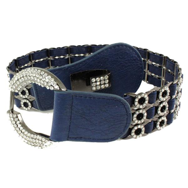 wholesale Crystal Stretch Belts L6070 - Navy Crystal Stretch Belt -
