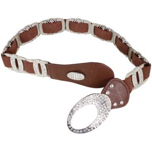 wholesale Crystal Stretch Belts X9299 - Brown Crystal Stretch Belt -