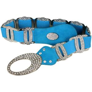 wholesale Crystal Stretch Belts X9299 - Turquoise Crystal Stretch Belt -