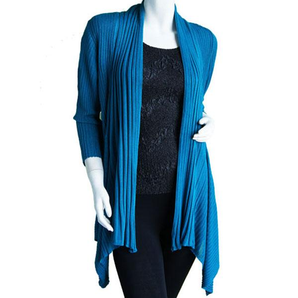 Wholesale Magic Convertible Long Ribbed Sweater Teal -