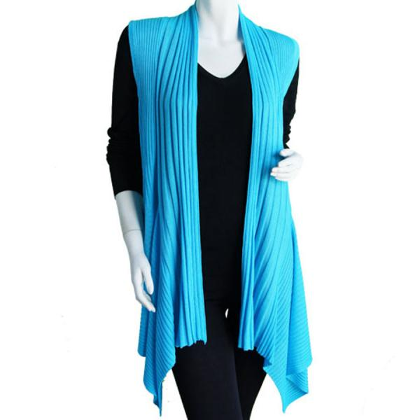 wholesale Magic Convertible Long Ribbed Sweater Vest Turquoise -