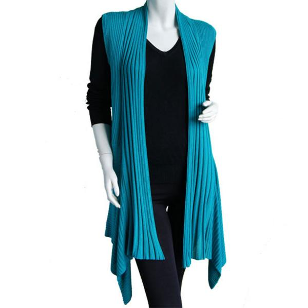 wholesale Magic Convertible Long Ribbed Sweater Vest Teal Long Ribbed Sweater Vest -