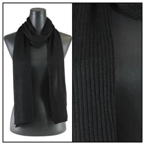 wholesale Oblong Scarves - Ribbed Sweater Knit Black -