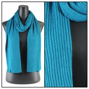wholesale Oblong Scarves - Ribbed Sweater Knit Teal Blue -