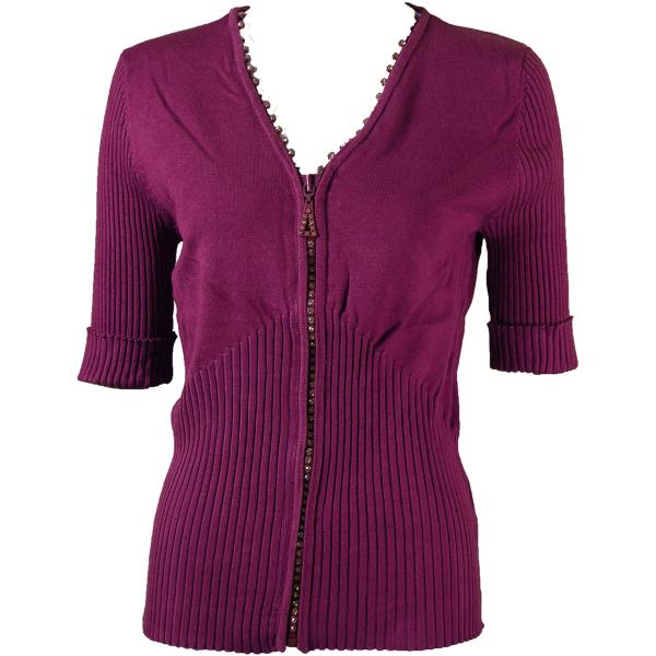 wholesale Crystal Zipper Top - Half Sleeve* Burgundy - One Size Fits  (S-L)