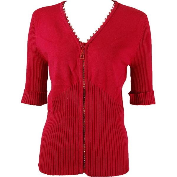 wholesale Crystal Zipper Top - Half Sleeve* Red - One Size Fits  (S-L)