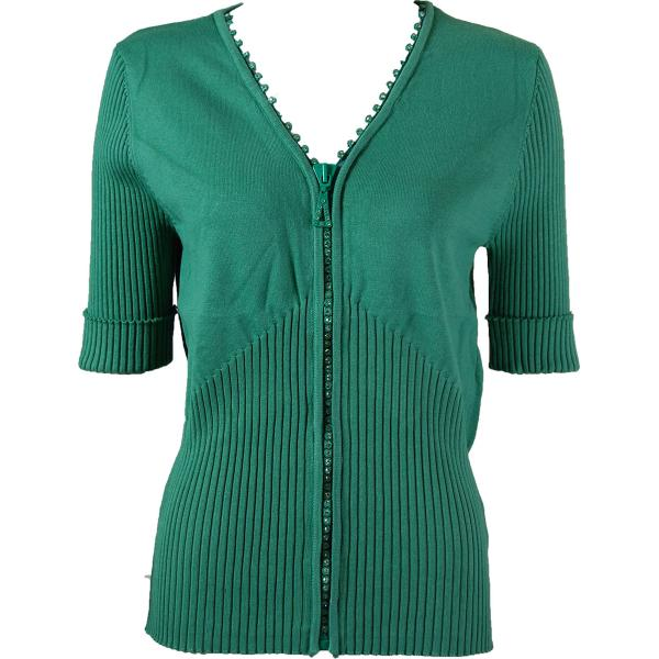 wholesale Crystal Zipper Top - Half Sleeve* Seagreen - One Size Fits  (S-L)