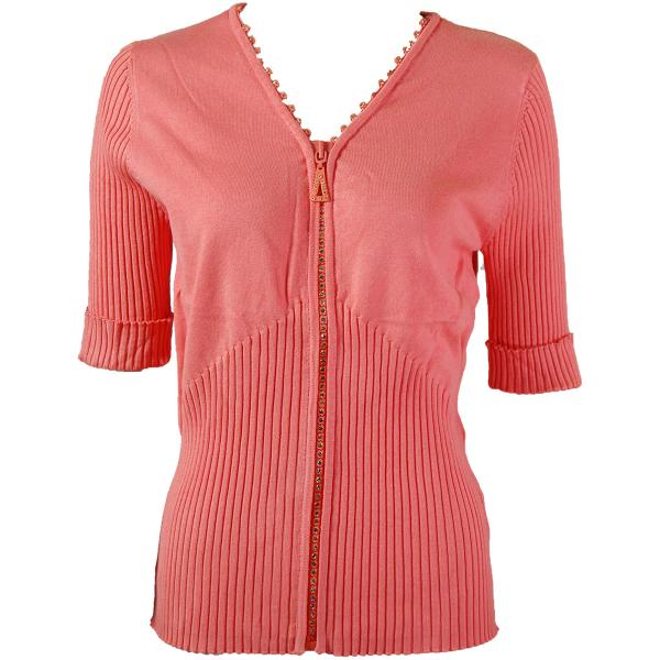 wholesale Crystal Zipper Top - Half Sleeve* Coral - One Size Fits  (S-L)