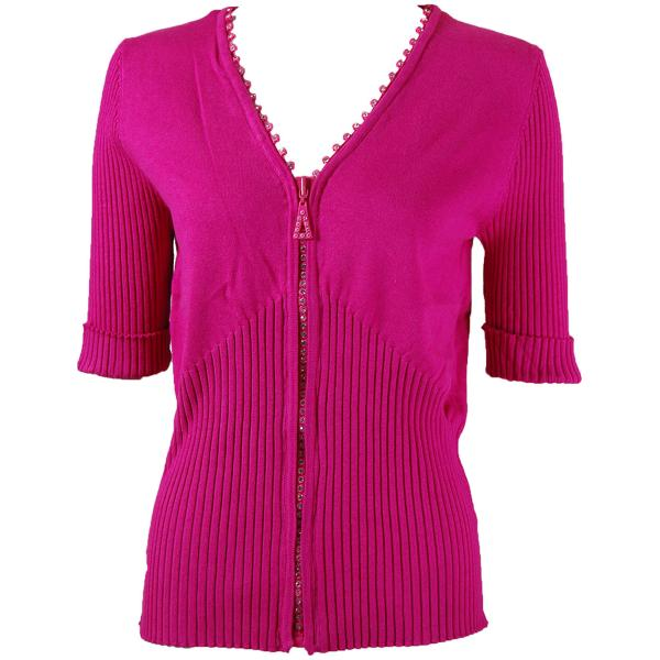 wholesale Crystal Zipper Top - Half Sleeve* Hot Pink - One Size Fits  (S-L)