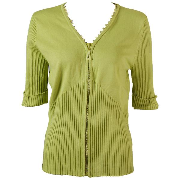wholesale Crystal Zipper Top - Half Sleeve* Leaf Green - One Size Fits  (S-L)