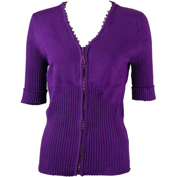 wholesale Crystal Zipper Top - Half Sleeve* Purple - One Size Fits  (S-L)