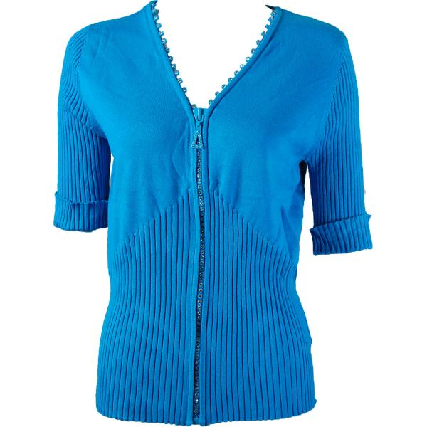 wholesale Crystal Zipper Top - Half Sleeve* Turquoise - One Size Fits  (S-L)