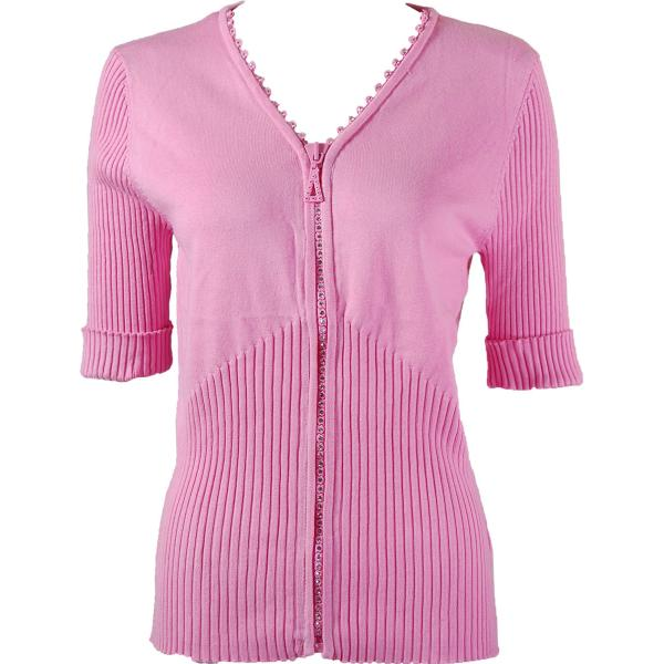 wholesale Crystal Zipper Top - Half Sleeve* Pink - One Size Fits  (S-L)