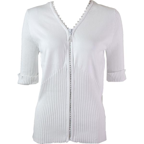 wholesale Crystal Zipper Top - Half Sleeve* White - One Size Fits  (S-L)