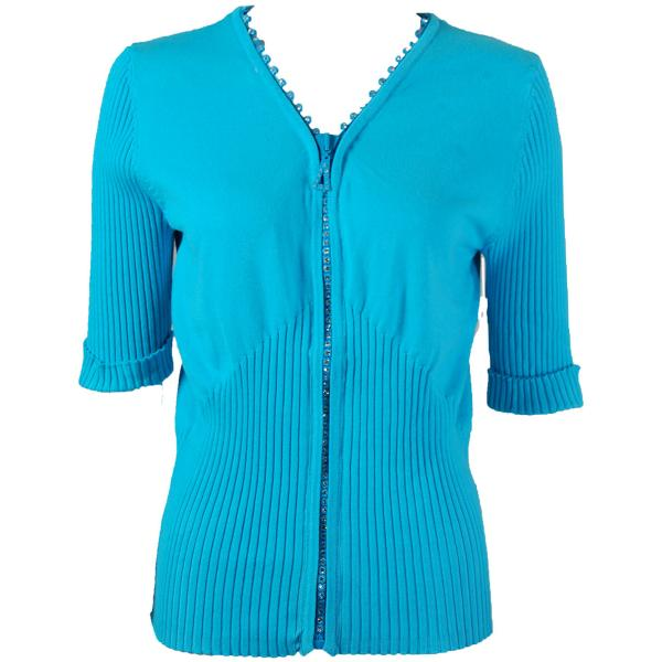 wholesale Crystal Zipper Top - Half Sleeve* Light Turquoise - One Size Fits  (S-L)