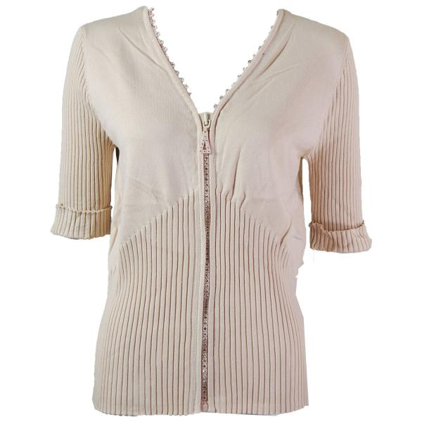 wholesale Crystal Zipper Top - Half Sleeve* Beige - One Size Fits  (S-L)