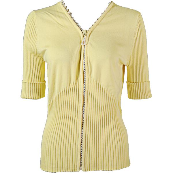 wholesale Crystal Zipper Top - Half Sleeve* Baby Yellow - Plus Size (XL-1X)
