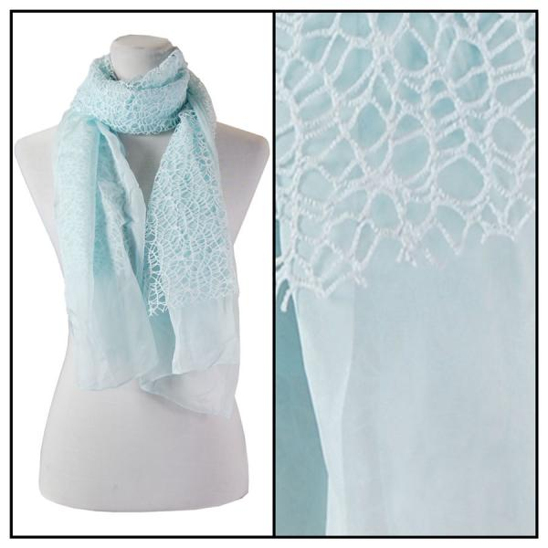 wholesale Oblong Scarves - Crochet Chiffon 3165* Aqua -