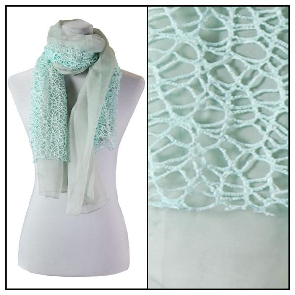wholesale Oblong Scarves - Crochet Chiffon 3165* Mint -