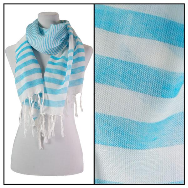 wholesale Oblong Scarves - Multi Stripe 675* Turquoise -