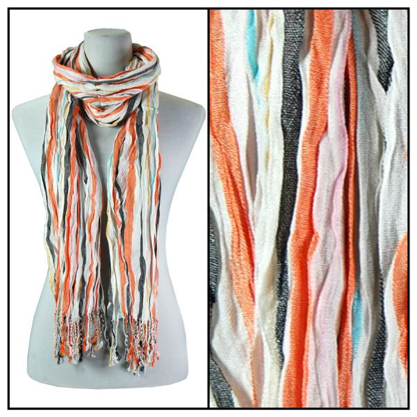 wholesale Oblong Scarves - Vertical Stripe 684* Orange -