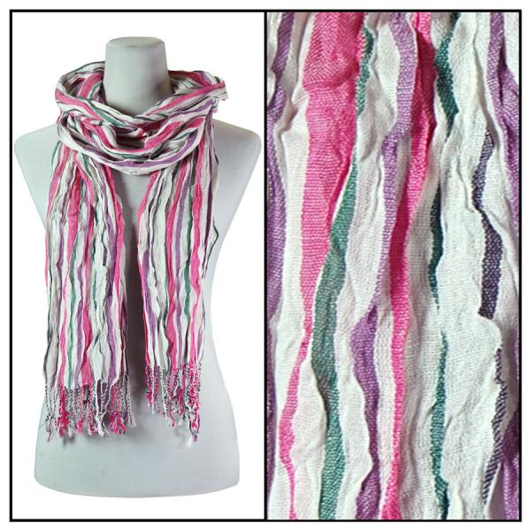 wholesale Oblong Scarves - Vertical Stripe 684* Pink -