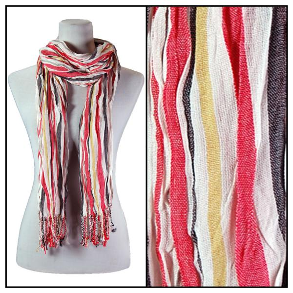 wholesale Oblong Scarves - Vertical Stripe 684* Red -