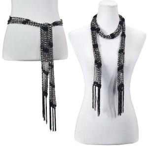 Wholesale  Black w/ Silver Beads (6) Shanghai Beaded Scarf/Sash  -