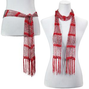 wholesale Shanghai Beaded Scarves/Sash   Red w/ Silver Beads (1) -