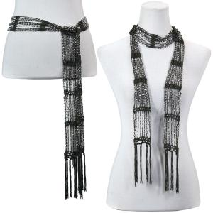 Wholesale  Dark Olive w/ Silver Beads (4) Shanghai Beaded Scarf/Sash -
