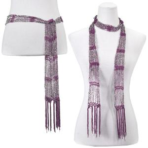 wholesale Shanghai Beaded Scarves/Sash   Purple w/ Silver Beads -