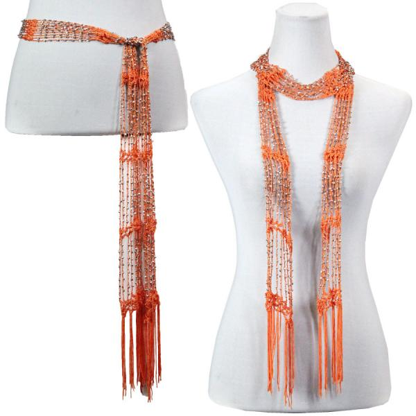 wholesale Shanghai Beaded Scarves/Sash   Orange Coral w/ Silver Beads -