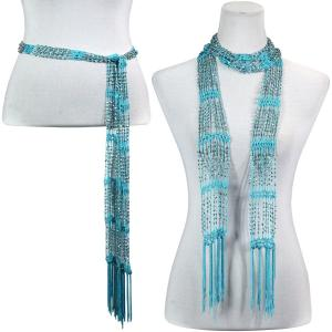 wholesale Shanghai Beaded Scarves/Sash   Turquoise w/ Silver Beads (8) -