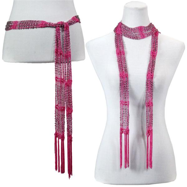 wholesale Shanghai Beaded Scarves/Sash   Magenta w/ Silver Beads -