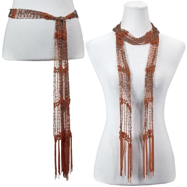 wholesale Shanghai Beaded Scarves/Sash   Paprika w/ Silver Beads -