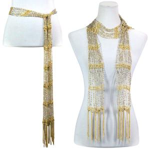 Wholesale  Yellow w/ Silver Beads (19) Shanghai Beaded Scarf/Sash -