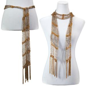 wholesale Shanghai Beaded Scarves/Sash   Harvest Gold w/ Silver Beads (21) -