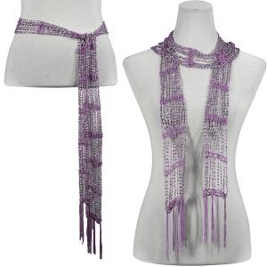 wholesale Shanghai Beaded Scarves/Sash   Lilac w/ Silver Beads -
