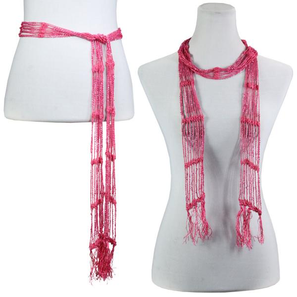 wholesale Shanghai Beaded Scarves/Sash   Hot Pink w/ Hot Pink Beads -