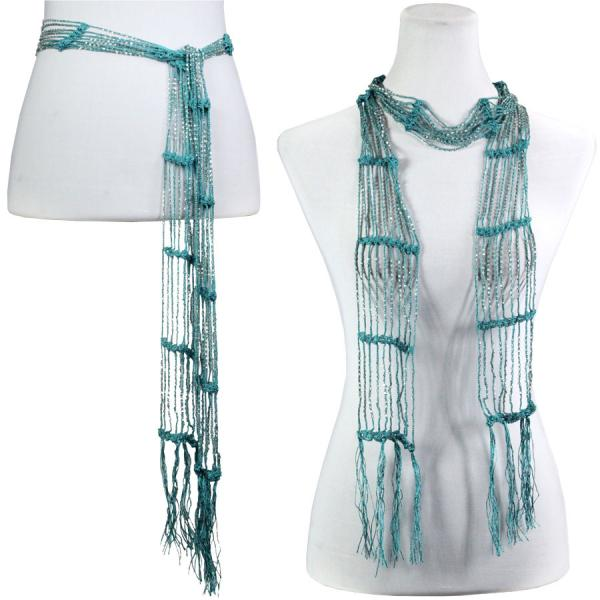 wholesale Shanghai Beaded Scarves/Sash   Teal Green w/ Silver Beads -
