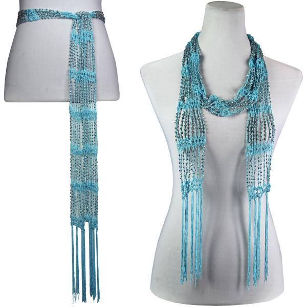 wholesale Shanghai Beaded Scarves/Sash   Ice Blue w/ Silver Beads -