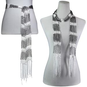 Wholesale  White w/ Black Beads Shanghai Beaded Scarf/Sash -