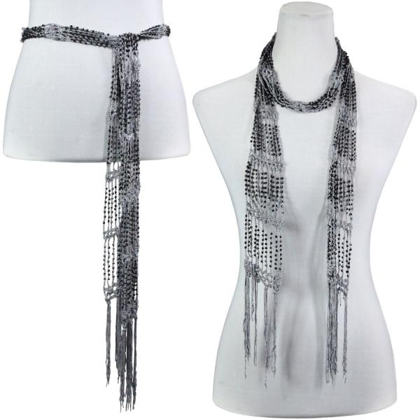 wholesale Shanghai Beaded Scarves/Sash   Charcoal w/ Black Beads -