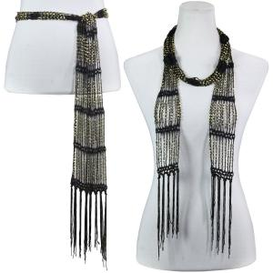 Wholesale  Dark Brown w/ Gold Beads Shanghai Beaded Scarf/Sash -